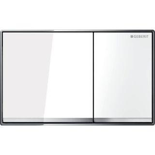 Изображение Geberit 115.081.SI.1 Omega60, двойной смыв, заподлицо: белый, зеркальное покрытие, глянцевый хром